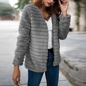 Haina de dama pentru toamna si iarna, stil fashion, cu guler rotund, maneca lunga, din blana sintetica, stil cardigan