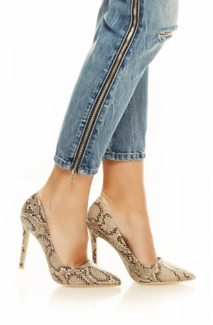 Pantofi stiletto imprimeu sarpe