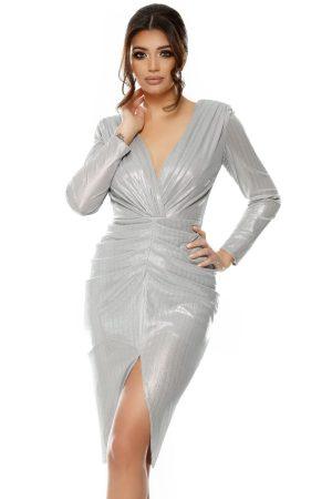 Rochie midi din din lurex metalizat argintiu, cu pliuri