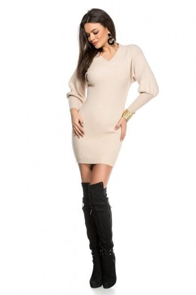 rochie-tricot-bej-decolteu-in-v-si-manse-40