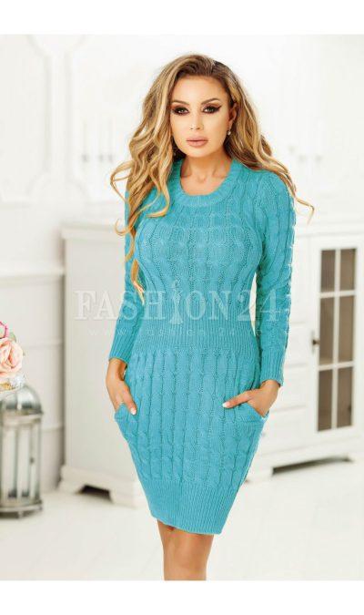 Rochie turcoaz tricotata cu buzunare