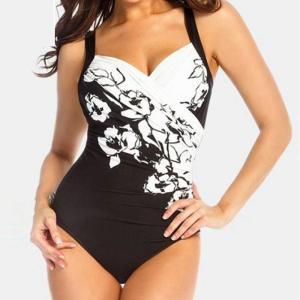 Costum de baie pentru femei cu imprimeu foarte elastic cu umerii goi și bretele tip spaghetti