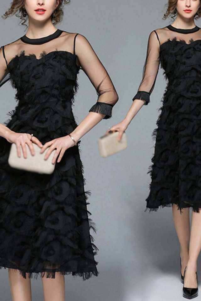 Rochie Eleganta Noua pentru Femei cu Pene Ciucuri Imbinata cu Voal