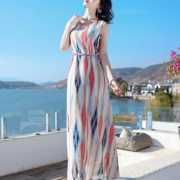 Rochie fără mâneci pentru femei, model boem cu dungi, pentru weekend sau pentru plajă