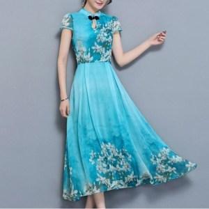 Rochie midi model vintage Cheongsam cu guler tip tunica cu maneca scurta o rochie cu imprimeu floral
