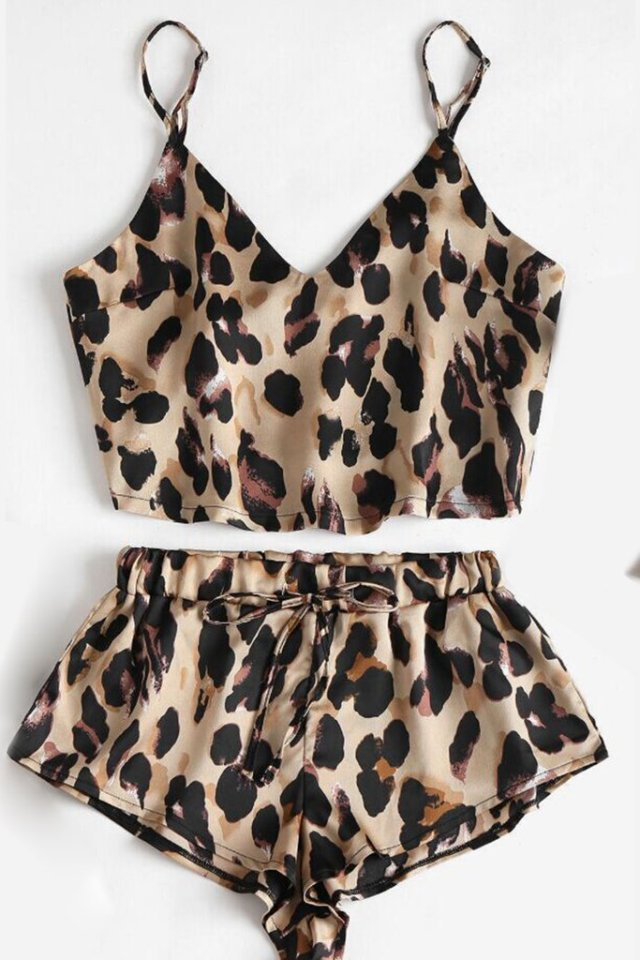 Costum de baie din două piese sexy cu imprimeu leopard pentru femei