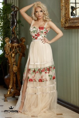 ROCHIE DAMA ROYAL DRESS IN ROSE DIN COLECTIA FOGGI DELIGHTFUL