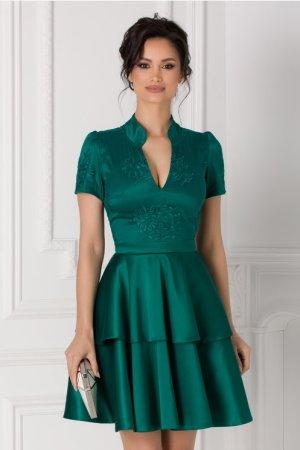 Rochie verde cu dantela si tafta Alison