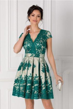 Rochie crem cu dantela florala verde Ingrid