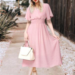 Rochie elegantă din șifon cu volane și volum