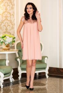 Rochie eleganta de seara cu dantela si paiete Ella Collection Golden Peach