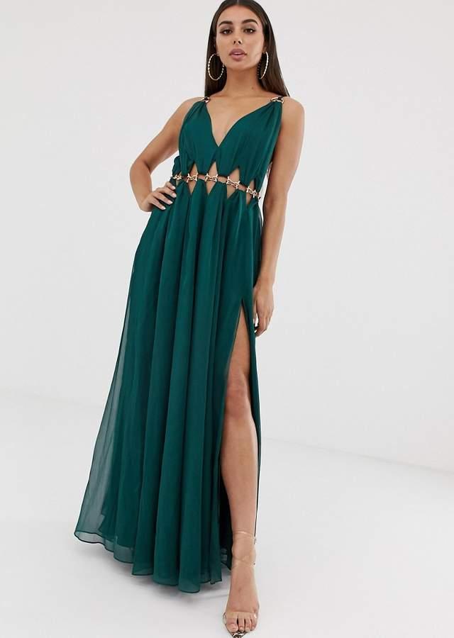 Rochie lunga de ocazie cu cercuri la talie Asos