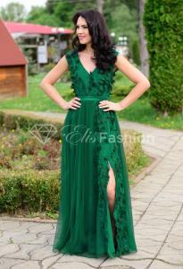 Rochie lunga de seara din tulle cu dantela 3D Ella Collection Princess Green