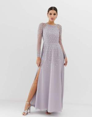 Rochie lunga eleganta cu paiete aplicate Asos