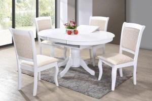 Set masa extensibila din lemn Galla White + 4 scaune Galla White