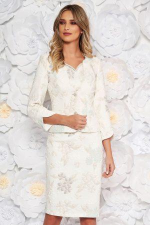 Compleu alb din 2 piese elegant cu rochie din jaquard cu fir lame