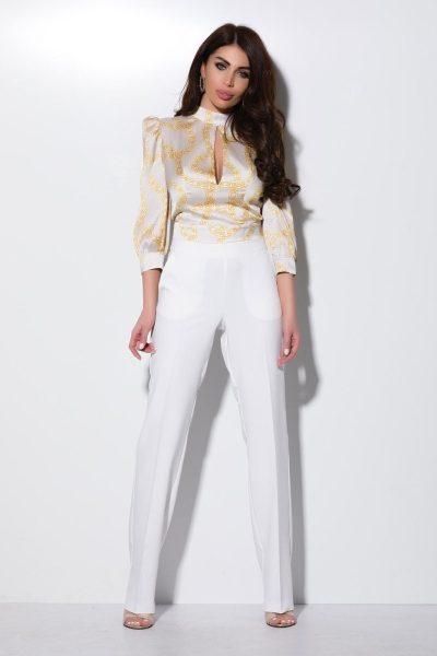 Compleu dama elegant 2 piese dama pantalon alb si bluza cu imprimeu