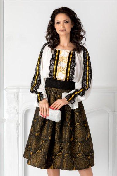 Compleu dama LaDonna cu fusta neagra din tafta si imprimeu galben
