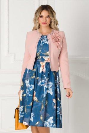 Compleu cu sacou roz si rochie bleumarin LaDonna