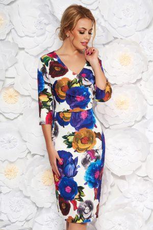 Rochie albastra eleganta tip creion cu decolteu in v din material fin la atingere cu imprimeuri florale