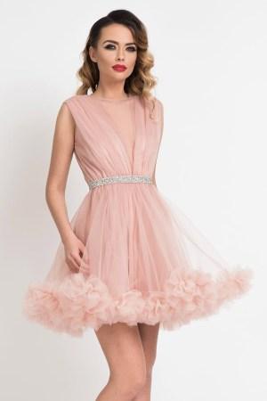 Rochie baby doll scurta roz de ocazie din tul cu volan decorativ