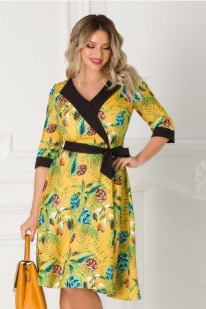 Rochie galben mustar eleganta cu imprimeu exotic Cansi
