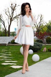 Rochie alba eleganta cu maneci trei sferturi din matase naturala Ginette