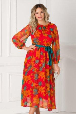 Rochie rosie vaporoasa eleganta cu imprimeu floral orange Moze