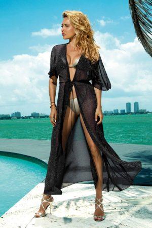 Rochie neagra de plaja lunga din material transparent fir stralucitor accesorizata cu snur