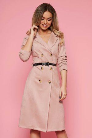 Rochie SunShine rosa de zi in clos din material catifelat cu accesoriu tip curea