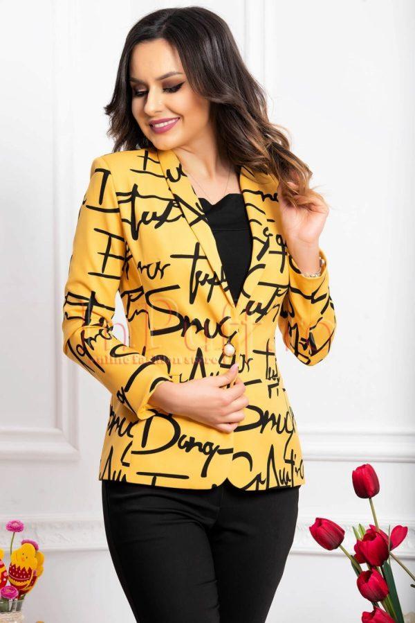 Sacou dama cambrat galben mustar cu imprimeu negru