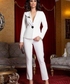 Compleu ivory din doua piese elegant pantaloni conici cu dunga