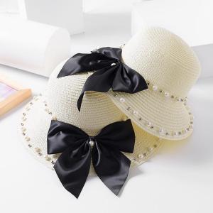 Pălărie de soare pentru femei cu fundă și imitație de perle pălărie din paie pentru plajă