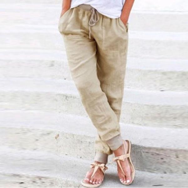 Pantaloni casual largi cu bandă și șnur în talie