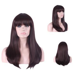 Perucă din păr sintetic rezistent la căldură pentru femei lung și drept