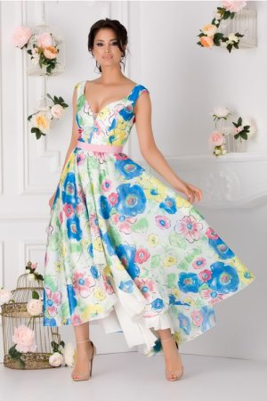Rochie alba eleganta cu imprimeu floral colorat