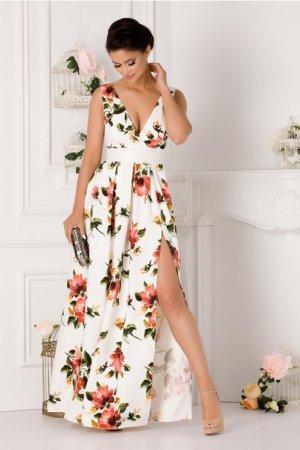 Rochie alba eleganta cu imprimeu floral