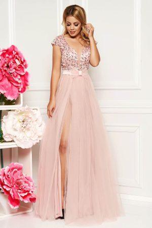 Rochie de ocazie lunga eleganta roz prafuit