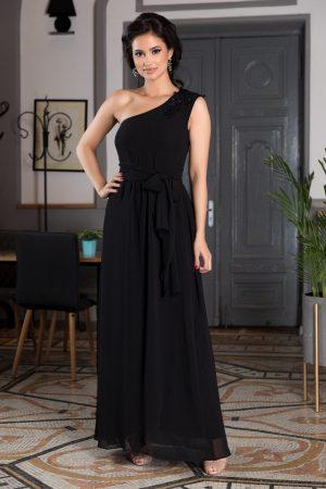 Rochie de ocazie lunga neagra tip one shoulder