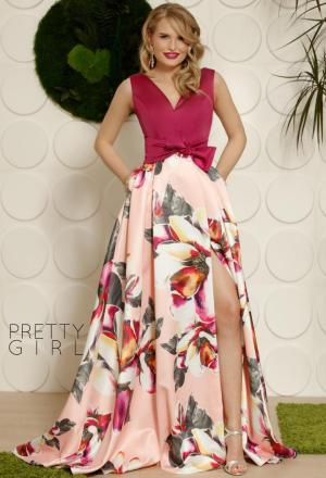 Rochie de seara eleganta cu imprimeu floral