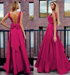 Rochie de seara lunga eleganta cu funda la spate