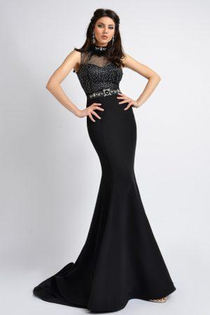 Rochie de seara neagra lunga din bistrech