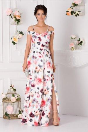 Rochie de zi lunga eleganta cu imprimeu floral