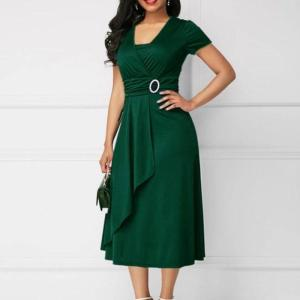 Rochie eleganta de zi cu accesoriu la talie