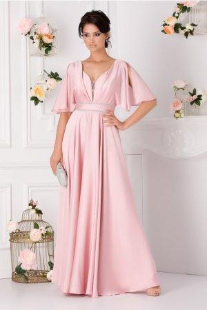 Rochie eleganta roz cu manceci decupate
