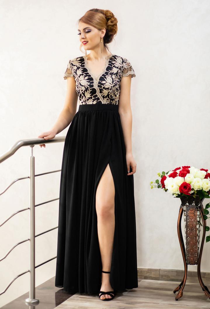 Rochie Lunga Eleganta De Seara Din Voal Si Broderie Ella Collection