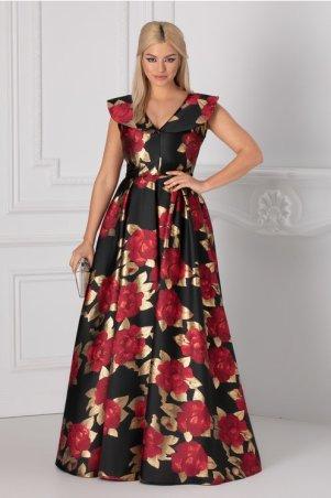 Rochie lunga neagra de ocazie cu imprimeu floral
