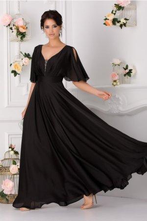 Rochie neagra eleganta cu maneci decupate