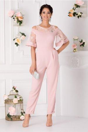 Salopeta eleganta roz prafuit cu dantela la umeri