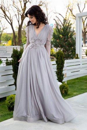 Rochie gri lunga eleganta cu flori 3D in talie Ladonna